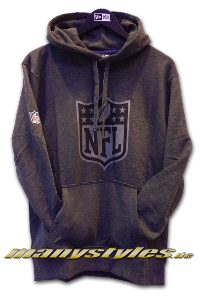 NFL Shield Logo Two Tone Hoody Charcoal Heather Graphite Grey von New Era