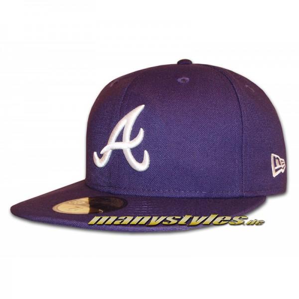 Atlanta Braves 59FIFTY MLB Basic Cap Purple White