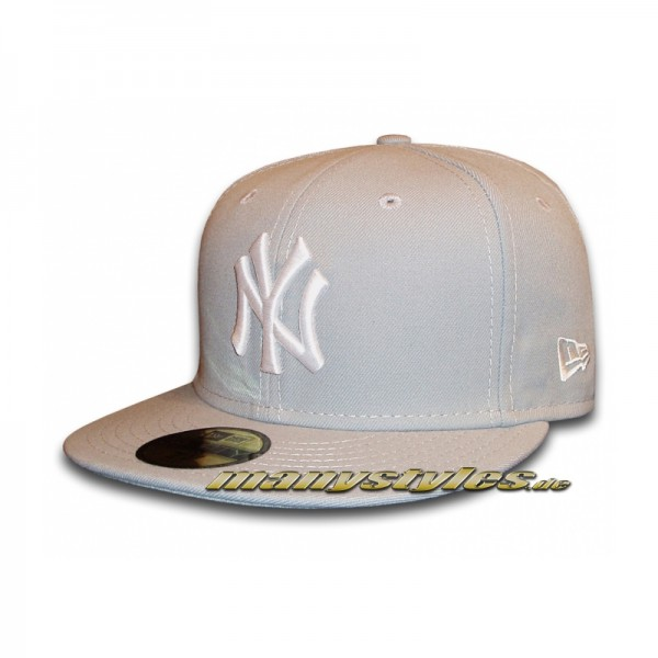 NY Yankees 59FIFTY Basic Cap Grey White