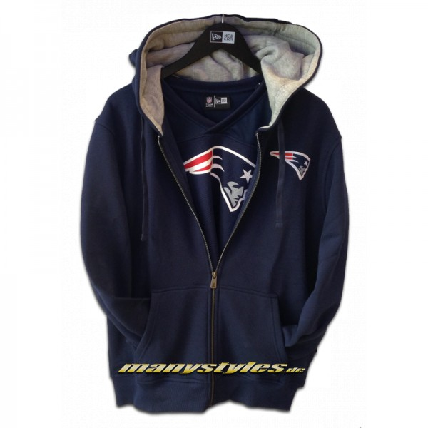 New England Patriots NFL Full Zip Hooded Sweater Official Team Color
