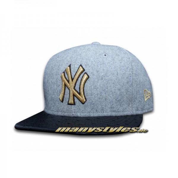NY Yankees 59FIFTY MLB Melton Metallic Gold Grey Black