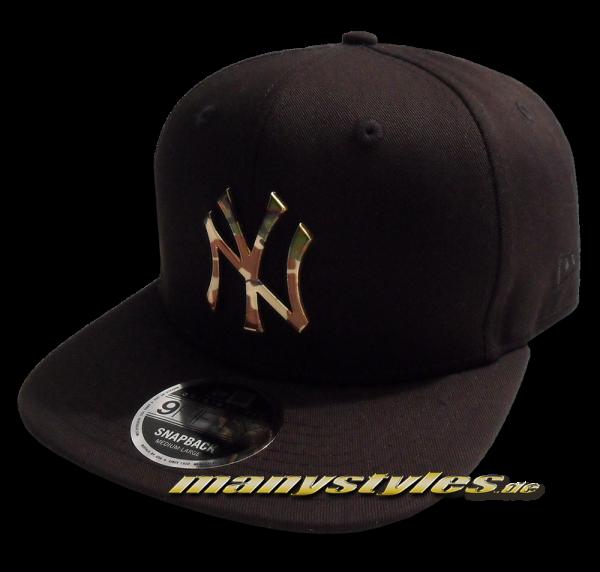 NY Yankees 59FIFTY MLB Camo Metall Logo Snapback Cap Black Camouflage