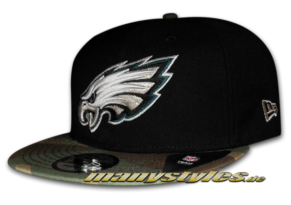 Philladelphia Eagles NFL Basic Camo exclusive Snapback Cap Black Woodland Camouflage von New Era