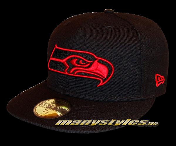 Seattle Seahawks 59FIFTY NFL exclusive Cap Black Scarlet Red von New Era