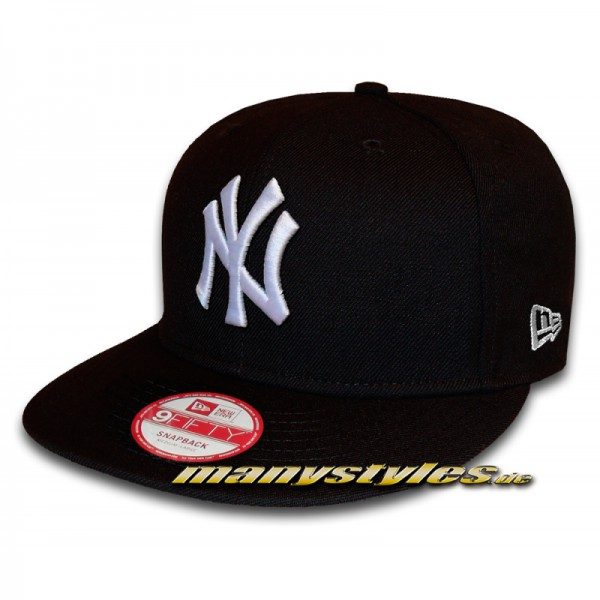 NY Yankees 9FIFTY League Essential Black White Snapback Cap