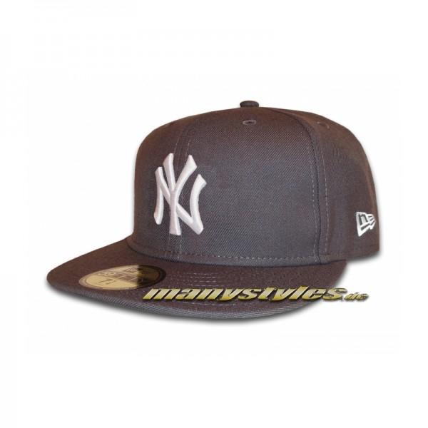 NY Yankees 59FIFTY MLB Basic Cap Graphite White