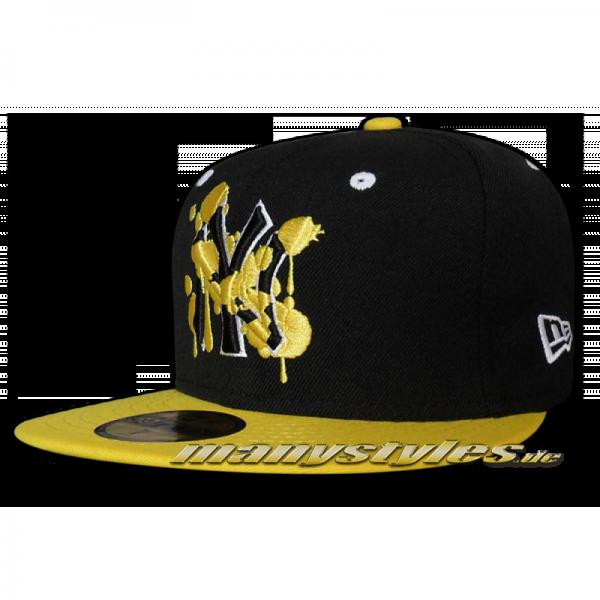 NY Yankees 59FIFTY MLB Deluxe Splatter Black White Yellow