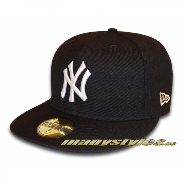 NY Yankees 59FIFTY MLB Basic Cap Black White