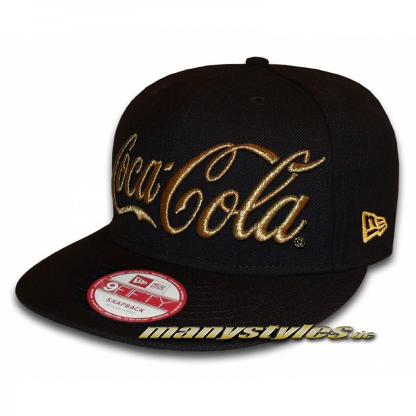 Coca Cola Licensed New Era 9FIFTY Snapback Cap Black Gold Metallic