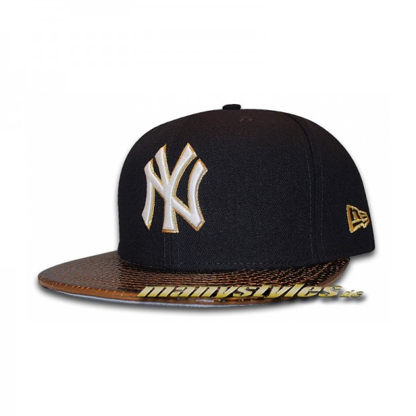NY Yankees 59FIFTY Cap Metallic Slither Black Gold