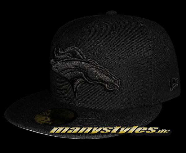 Denver Broncos 59FIFTY NFL official Black on Black exclusive Cap