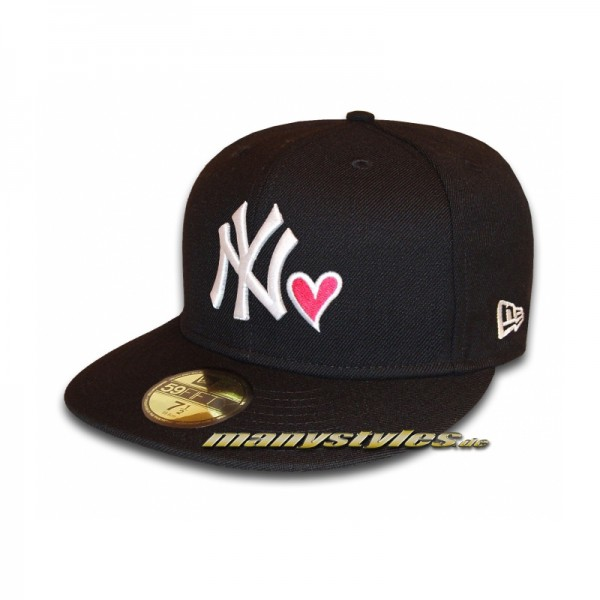 NY Yankees 59FIFTY MLB Hearted Love Cap exclusive Black White Strawberry