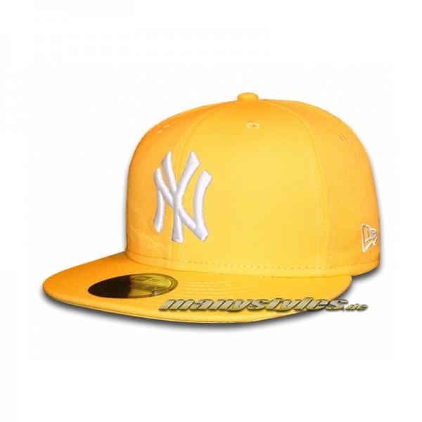 NY Yankees 59FIFTY MLB Basic Cap Yellow White