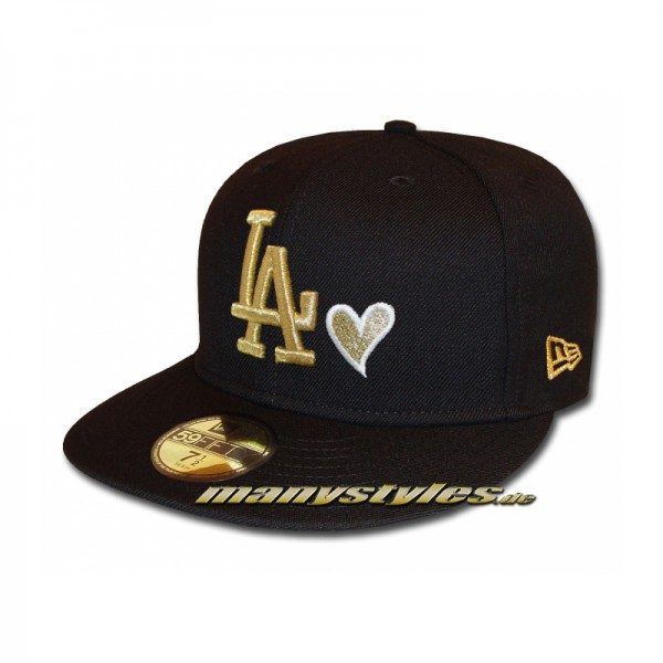 LA Dodgers 59FIFTY MLB LA Love Hearted Cap exclusive Black Gold White