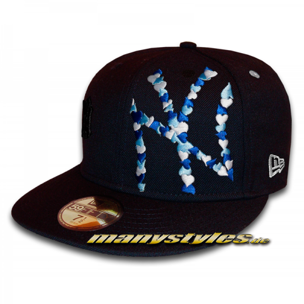 NY Yankees 59FIFTY MLB Special Flawless Big Logo Multi Colored Heart Cap Navy White