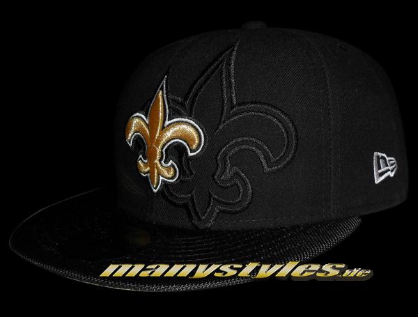New Orleans Saints official 59FIFTY NFL Authentic Sideline Cap Black Team Color