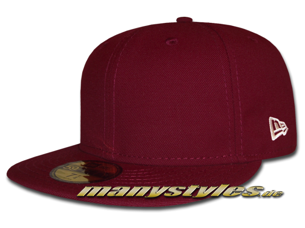 NE Originals Blank 59FIFTY New Era Cap Maroon Red Clean Plain Caps without Logo