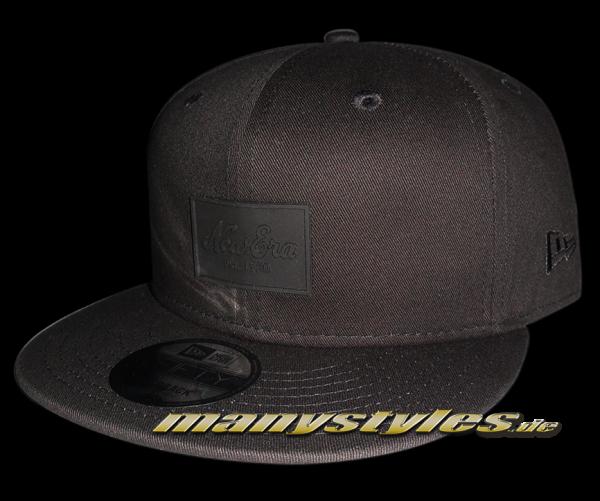 New Era Rubber Script Patch Black on Black Snapback Cap