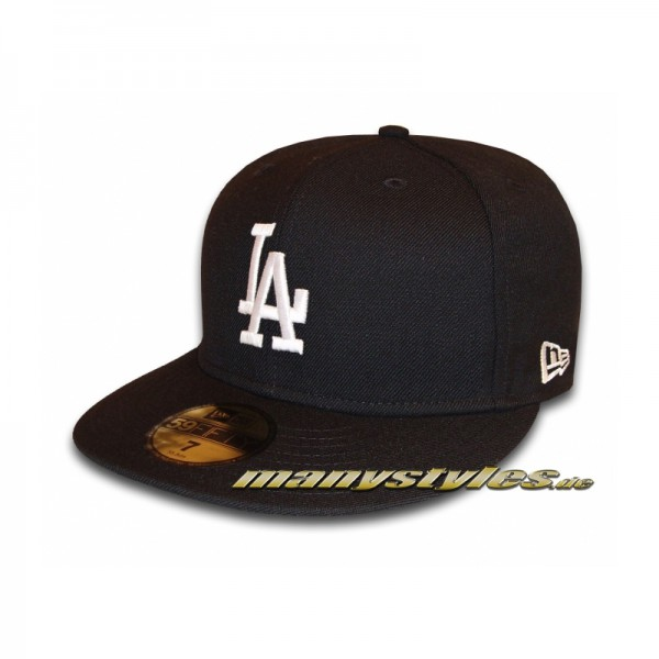 LA Dodgers 59FIFTY MLB Basic Cap Black White