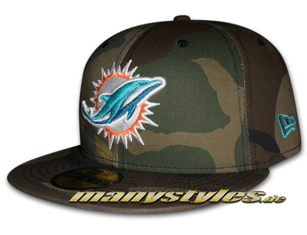 Miami Dolphins 59FIFTY NFL Basic Camo Team Exclusive Cap