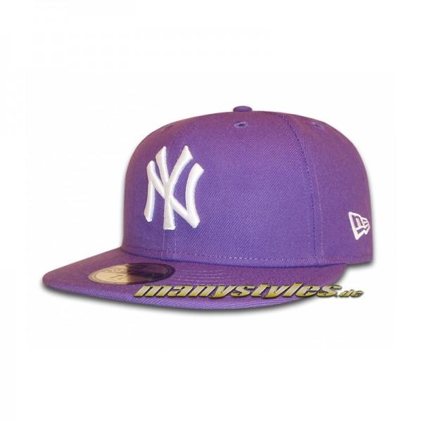 NY Yankees 59FIFTY MLB Basic Cap Varsity Purple White