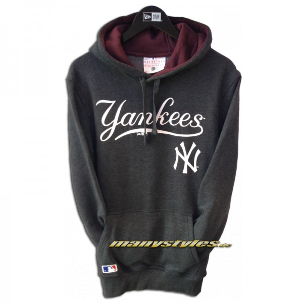 NY Yankees MLB PO Hooded Sweater Heather Charcaol Maroon