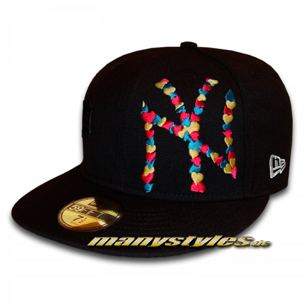 NY Yankees 59FIFTY MLB Special Flawless Big Logo Multi Colored Heart Cap Vice Blue Yellow Red