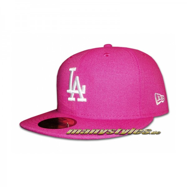 LA Dodgers 59FIFTY MLB Basic Cap Beetroot White (Pink White) exclusive