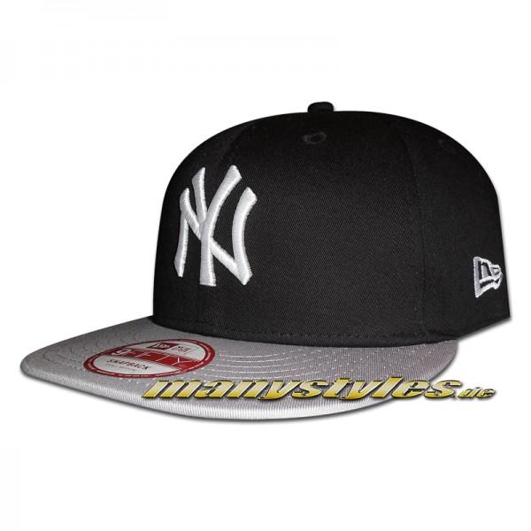 NY Yankees 9FIFTY MLB Cotton Block Black Grey White Snapback Cap