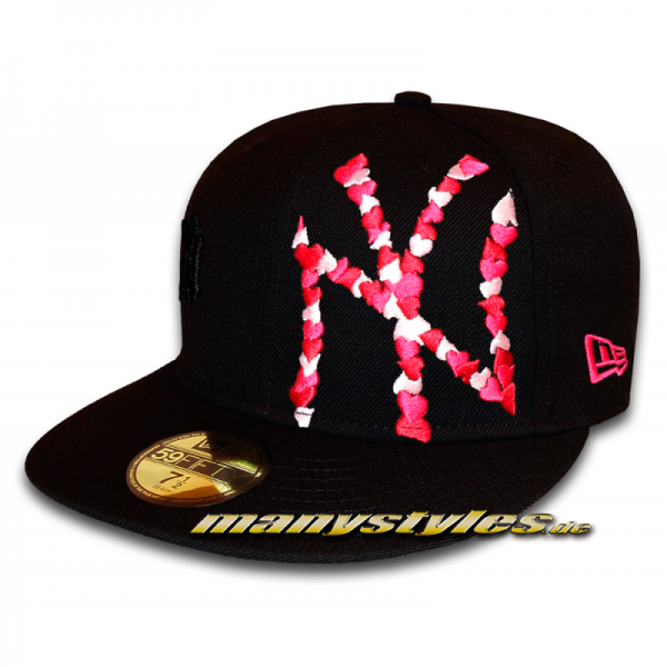 NY Yankees 59FIFTY MLB Special Flawless Big Logo Multi Colored Heart Cap Cardinal Pink