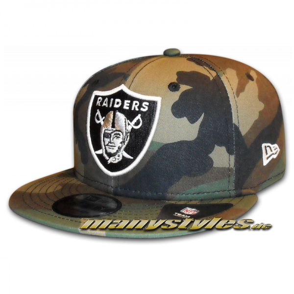 Oakland Raiders NFL League Essential Woodland Camouflage Snapback Cap von New Era