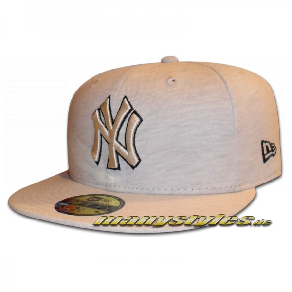 NY Yankees 59FIFTY MLB Cap Jersey Fitted Stone Heather Grey