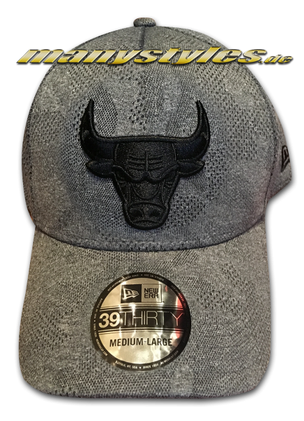 Chicago Bulls NBA 39THIRTY Curved Visor Cap Engineered Plus 3930 Heather Grey Black von New Era