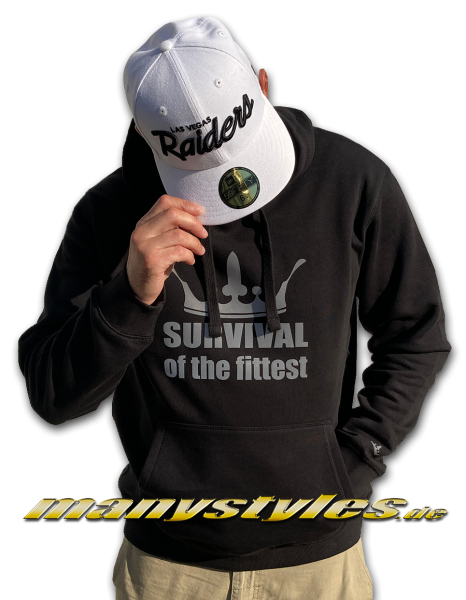 Survival of the Fittest Crown exclusive Hooded Sweatshirt mit Kapuze in Black reflectiive 3M Print