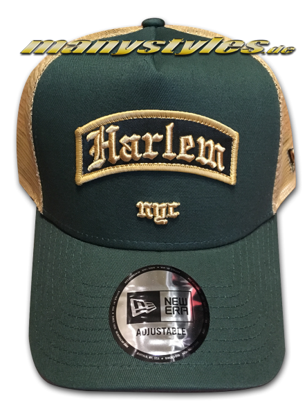 Harlem NYC Borough AF Trucker Adjustable Curved Visor Snapback Cap Green Wheat von New Era