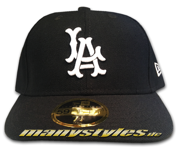 LA Dodgers MLB LC Low Profile Curved Visor Cap Cooperstown Black White von New Era HWC Hardwood Classics