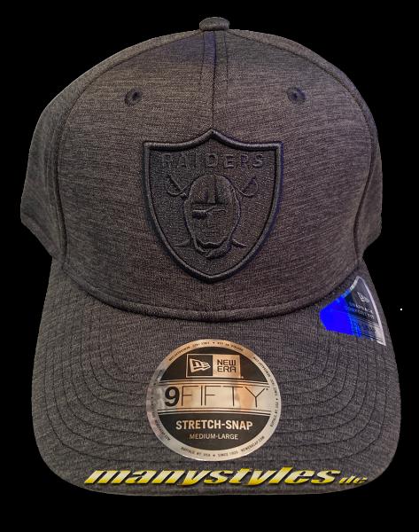 Oakland Raiders (Las Vegas Raiders) NFL 9FIFTY Stretch Snapback Cap Tonal Charcoal Black von New Era