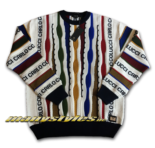 Carlo Colucci Sweater Pullover Strick Script White Black Multi