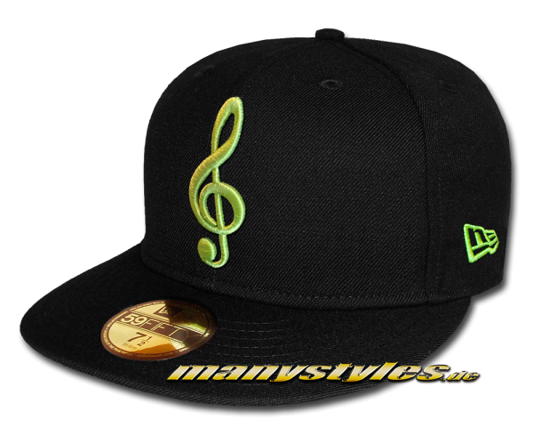 New Era 59FIFTY Unlicensed The Music Note exclusive Cap in Black Cybergreen Neon Color