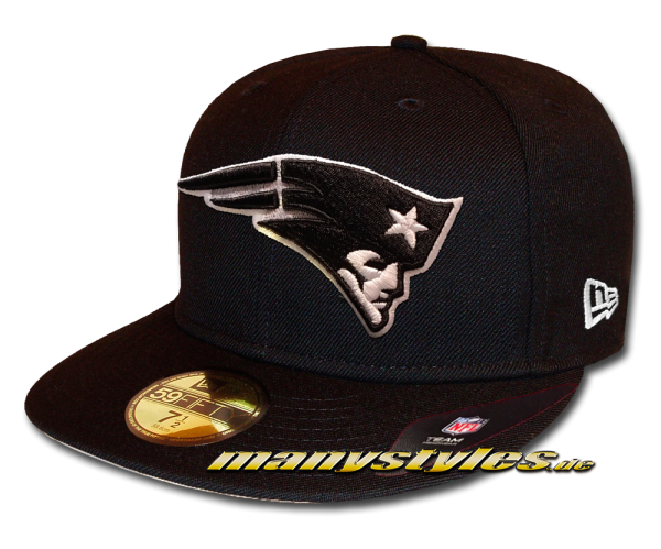 New England Patriots 59FIFTY Fitted Cap League Essential Basic Fit2 Black White von New Era