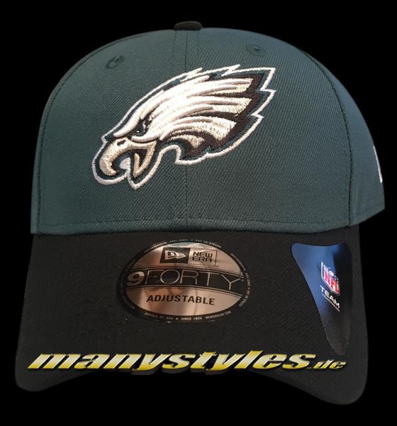Philadelphia Eagles NFL 9Forty Cuved Visor Cap Green OTC Original Team Color Color Team Curved Visor 9Forty Adjustable Cap von New era
