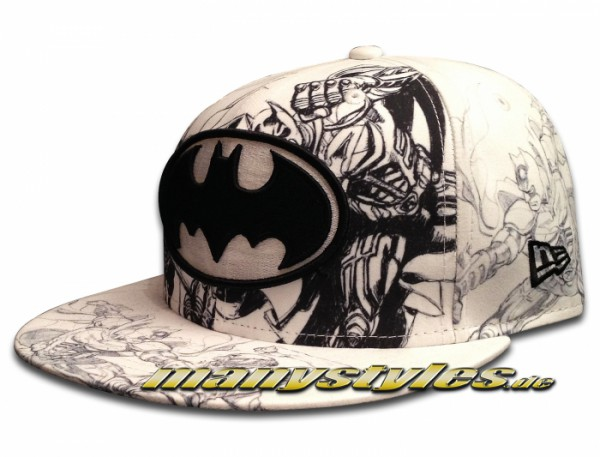New Era DC Comic Art Cap Batman THE ROOTS Dark Knight Rises All Over Sketches White Black 59FIFTY