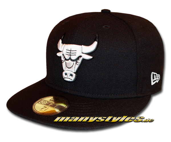 Chicago Bulls NBA 59FIFTY Fitted Cap League Essential Basic Fit2 Black White von New Era