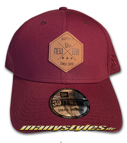 NE Patch Color Essential 39THIRTY Blank Stretch Flex Fit Curved Visor Cap Maroon Brown Leather von New Era
