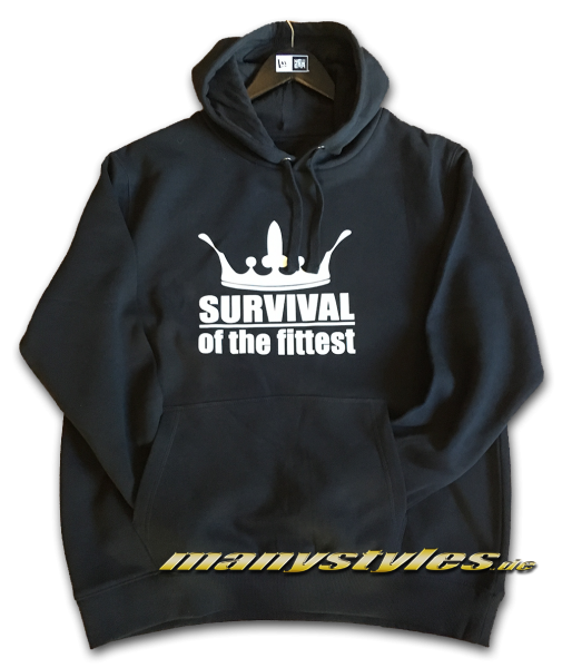 Survival of the Fittest Crown exclusive Hooded Sweatshirt mit Kapuze in Black White
