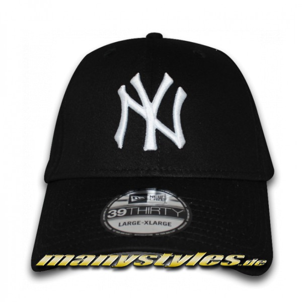 NY Yankees 39THIRTY MLB League Basic Stretch Flex Cap Navy White