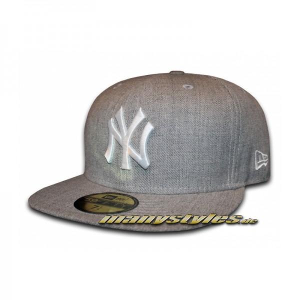 NY Yankees 59FIFTY MLB Basic Chambrak Cap Heather Grey White