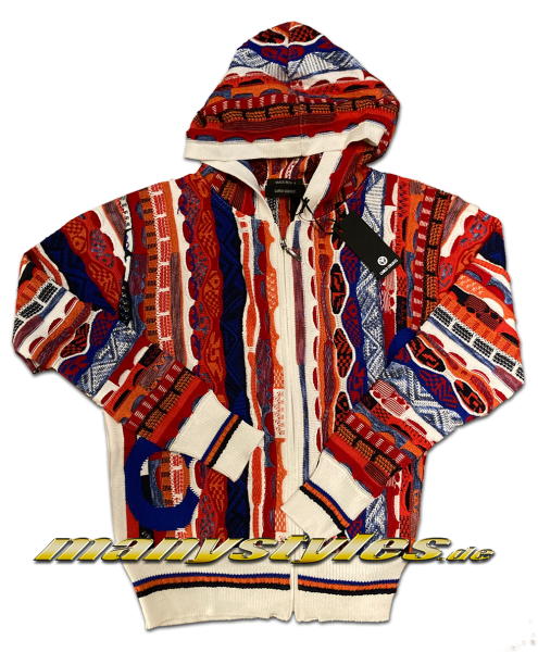 Carlo Colucci Hooded Sweater Strickpullover Zip Girl White Multi