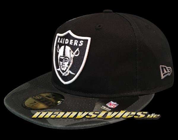 New Era Oakland Raiders NFL 59FIFTY Cap Washed Camo Black Graphite White OTC Original Team Color