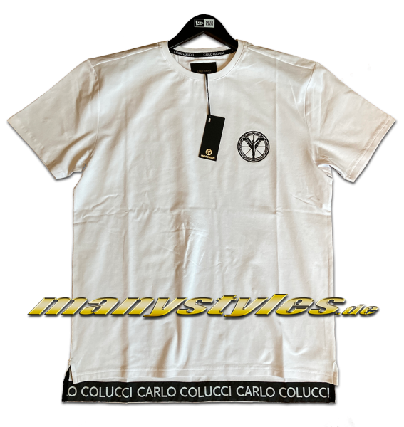 Carlo Colucci Milano Italy Logo Bottom Up Long T-Shirt White Black Rückseite